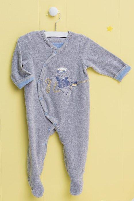 Pyjama Velours Nouky Gris - 1 mois